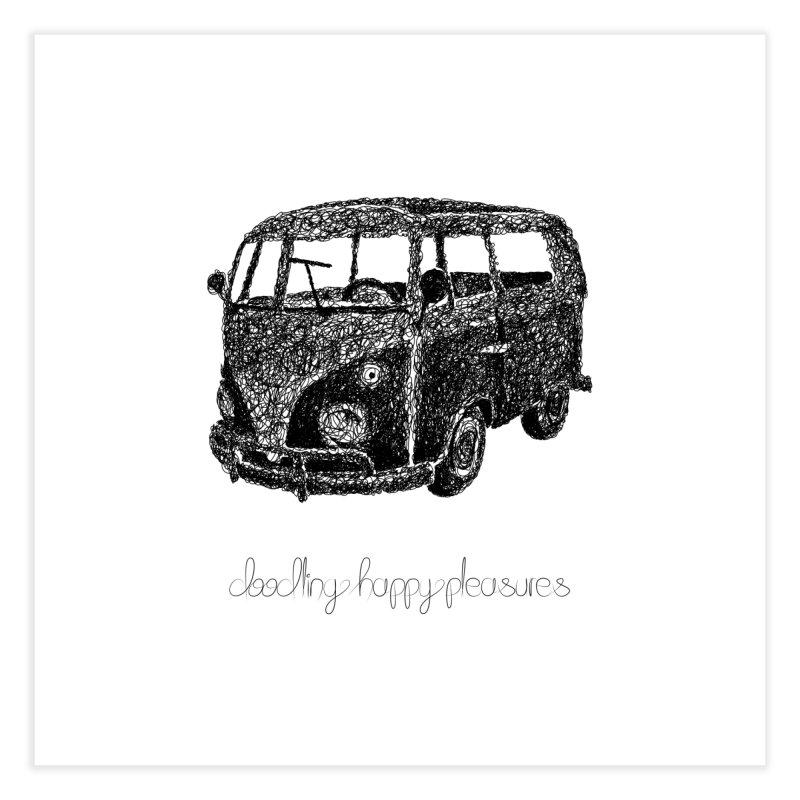 Hippie Retro Van Doodle Home Fine Art Print by BrocoliArtprint