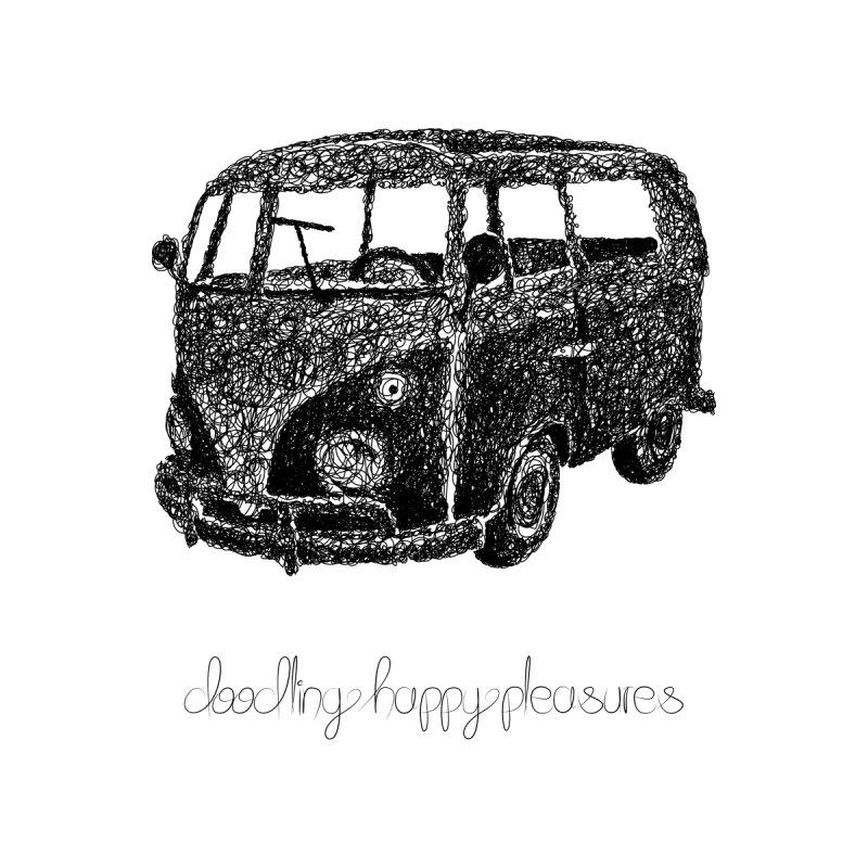 Hippie Retro Van Doodle Kids T-Shirt by BrocoliArtprint