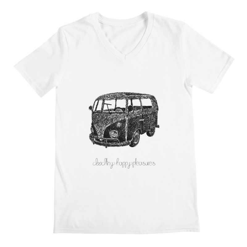 Hippie Retro Van Doodle Men's V-Neck by BrocoliArtprint