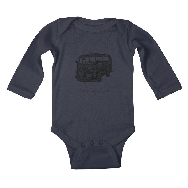Hippie Retro Van Doodle Kids Baby Longsleeve Bodysuit by BrocoliArtprint