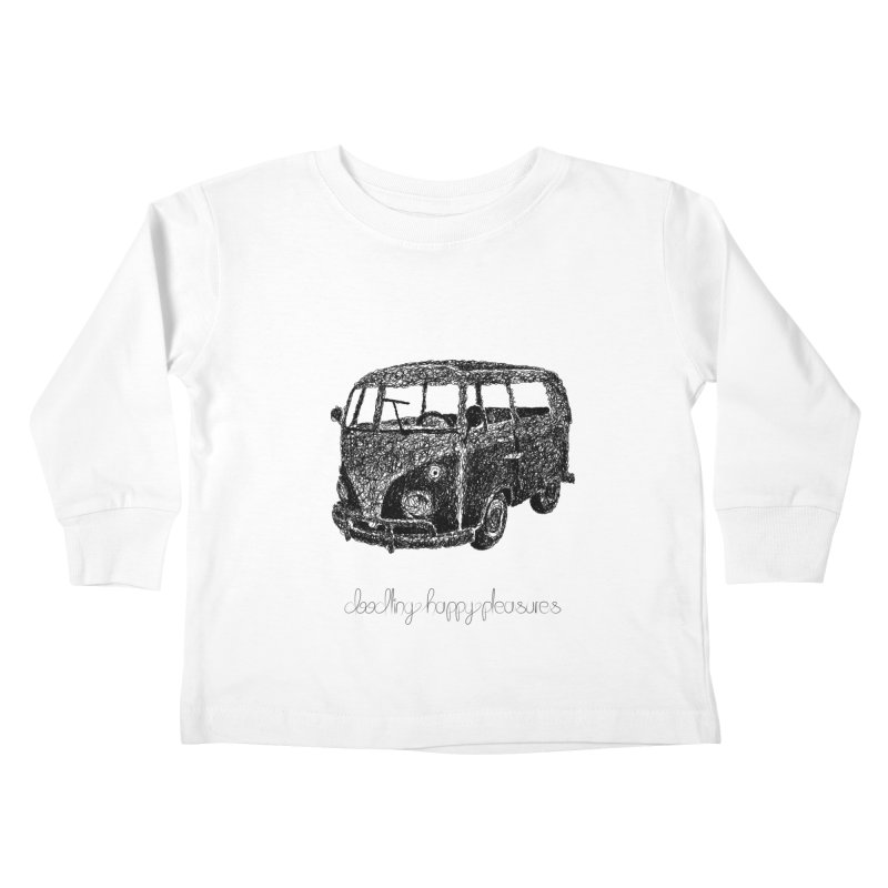 Hippie Retro Van Doodle Kids Toddler Longsleeve T-Shirt by BrocoliArtprint