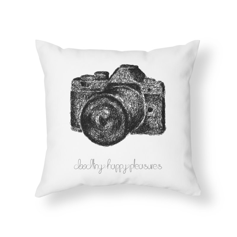 Photo Camera Doodle Home Throw Pillow by BrocoliArtprint