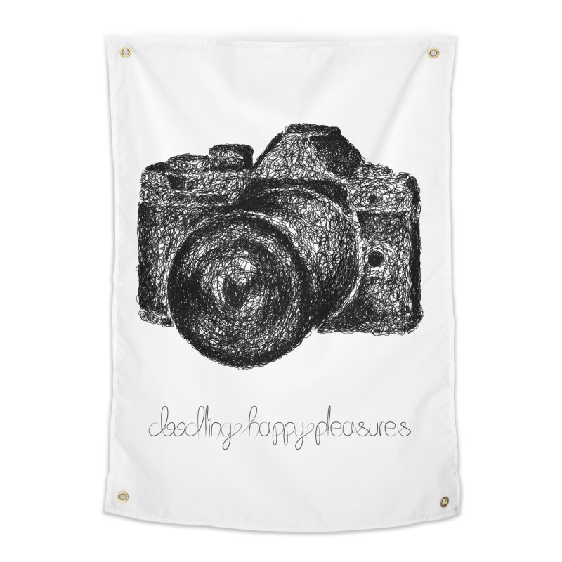 Photo Camera Doodle Home Tapestry by BrocoliArtprint