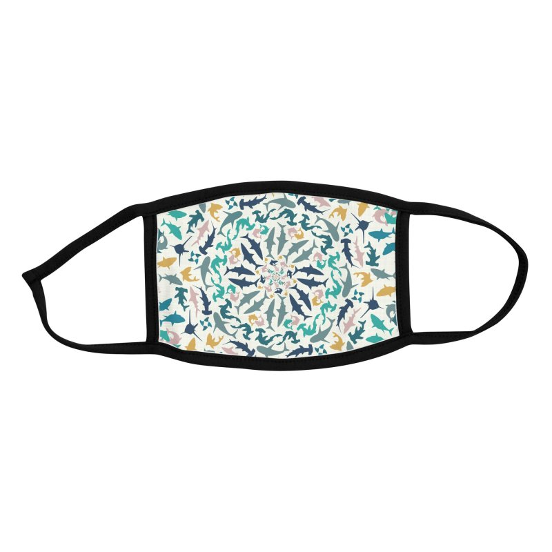 Sharks on Mandala Accessories Face Mask by BrocoliArtprint