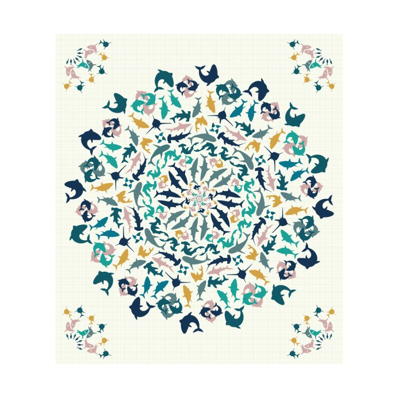 Sharks on Mandala Accessories Beach Towel by BrocoliArtprint