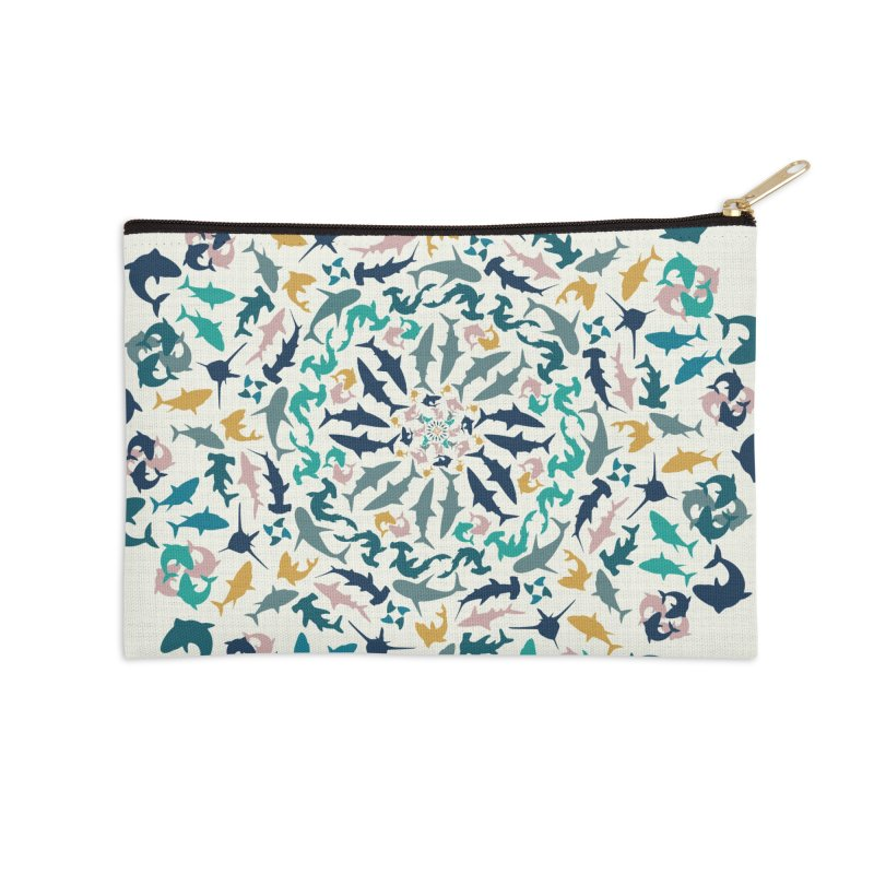 Sharks on Mandala Accessories Zip Pouch by BrocoliArtprint