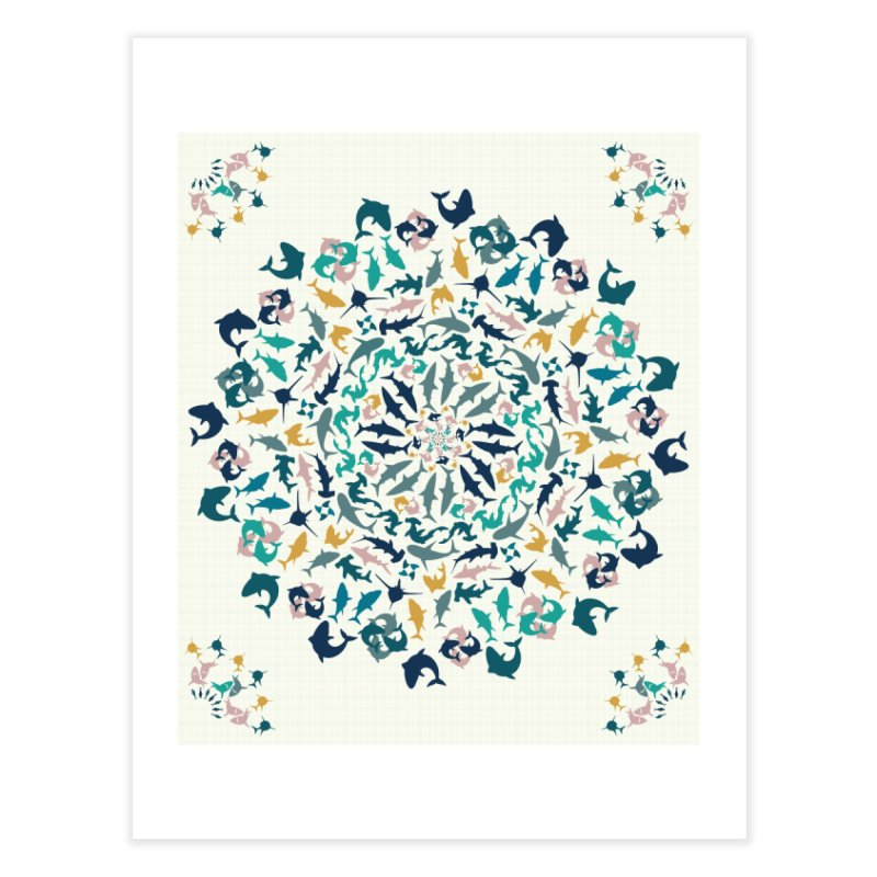 Sharks on Mandala Home Fine Art Print by BrocoliArtprint