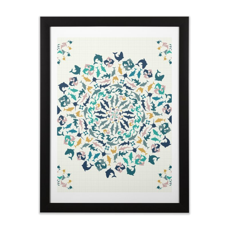Sharks on Mandala Home Framed Fine Art Print by BrocoliArtprint