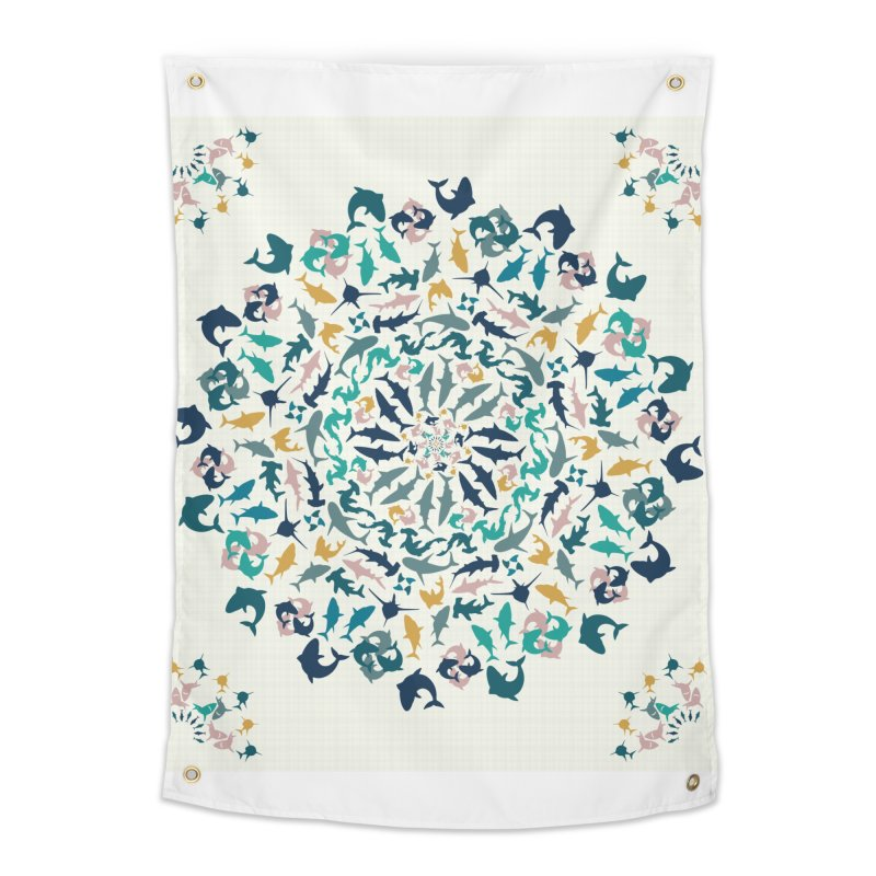 Sharks on Mandala Home Tapestry by BrocoliArtprint