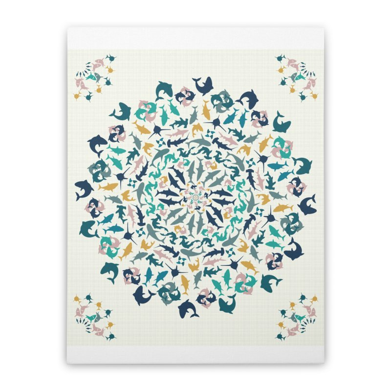 Sharks on Mandala Home Stretched Canvas by BrocoliArtprint