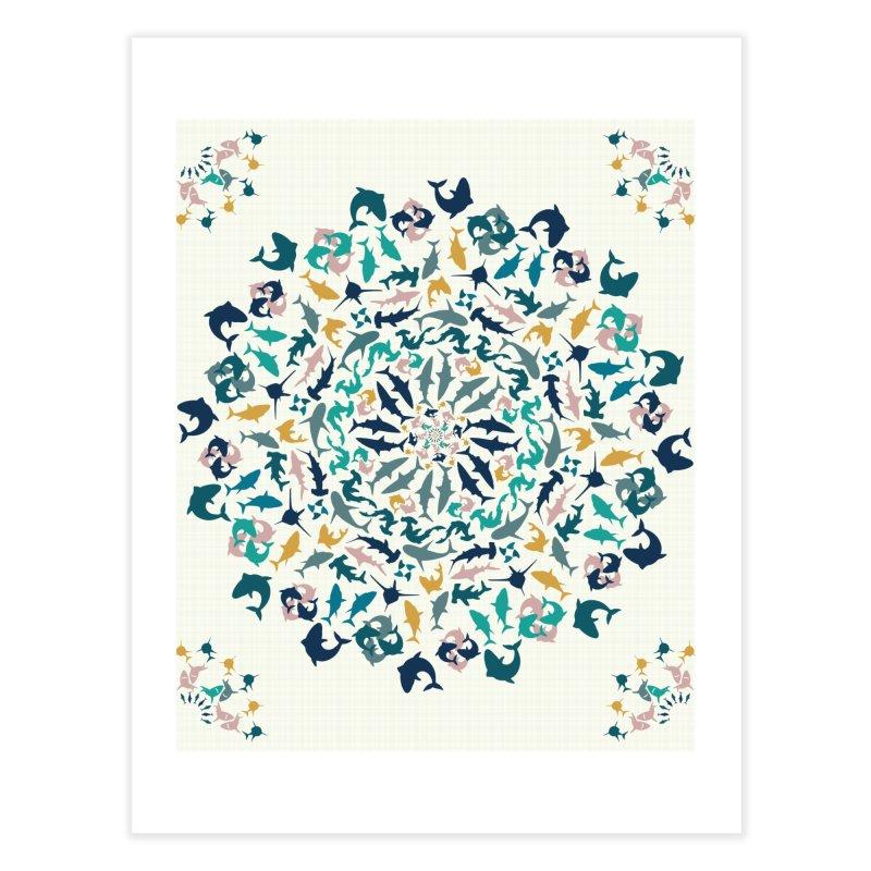 Sharks on Mandala Home Fine Art Print by BrocoliArtprint