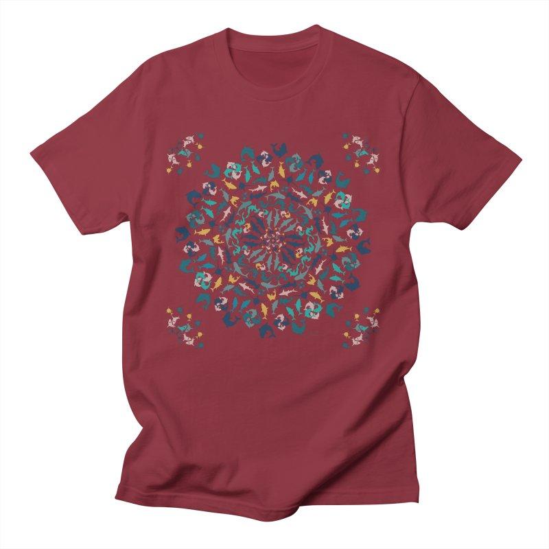 Sharks on Mandala Men's T-Shirt by BrocoliArtprint