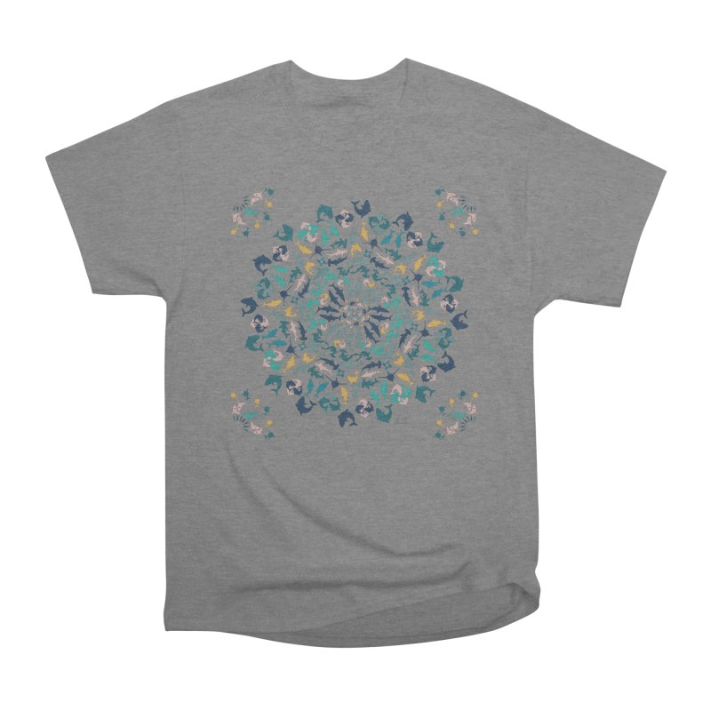 Sharks on Mandala Men's T-Shirt by BrocoliArtprint