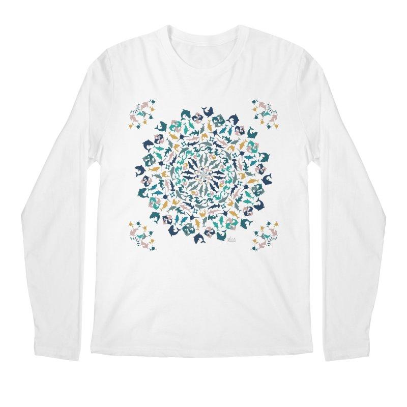 Sharks on Mandala Men's Longsleeve T-Shirt by BrocoliArtprint