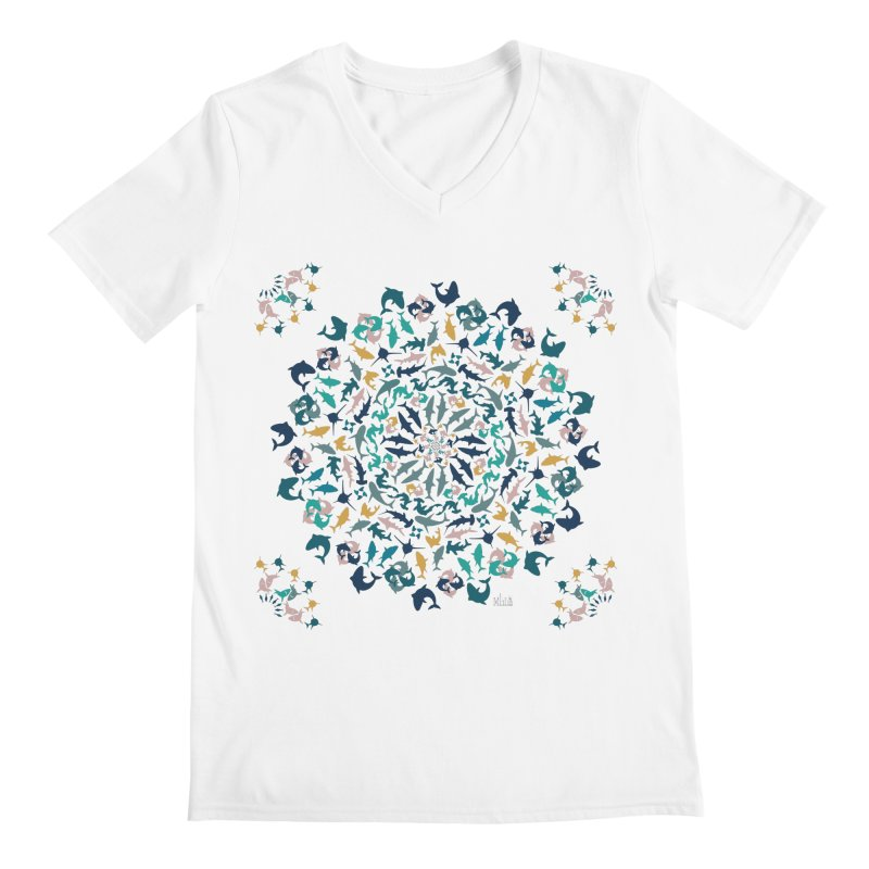Sharks on Mandala Men's V-Neck by BrocoliArtprint