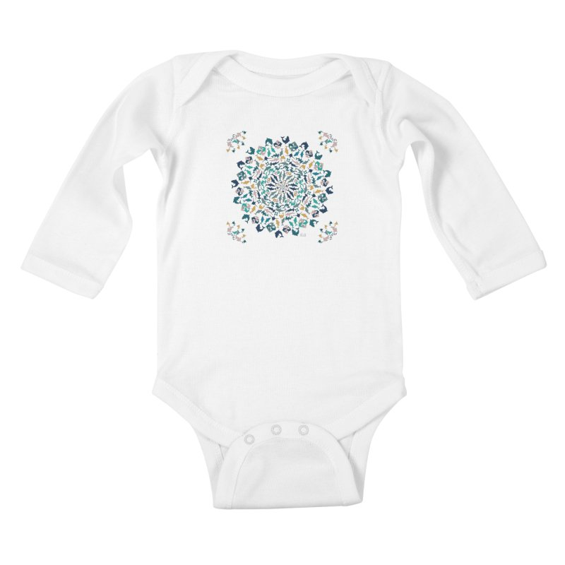 Sharks on Mandala Kids Baby Longsleeve Bodysuit by BrocoliArtprint