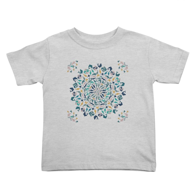 Sharks on Mandala Kids Toddler T-Shirt by BrocoliArtprint