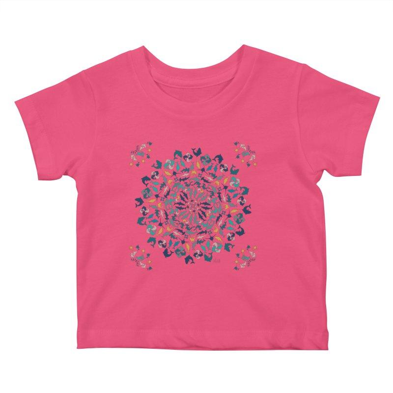 Sharks on Mandala Kids Baby T-Shirt by BrocoliArtprint