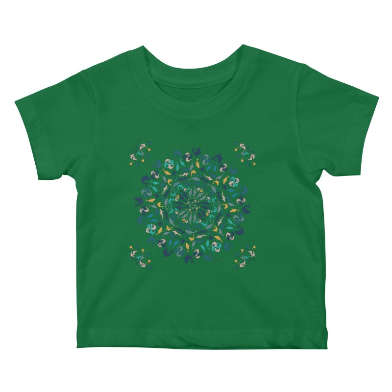 Sharks on Mandala Kids Baby T-Shirt by BrocoliArtprint