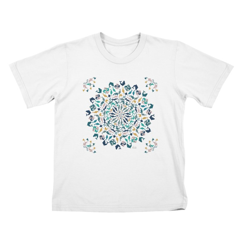 Sharks on Mandala Kids T-Shirt by BrocoliArtprint