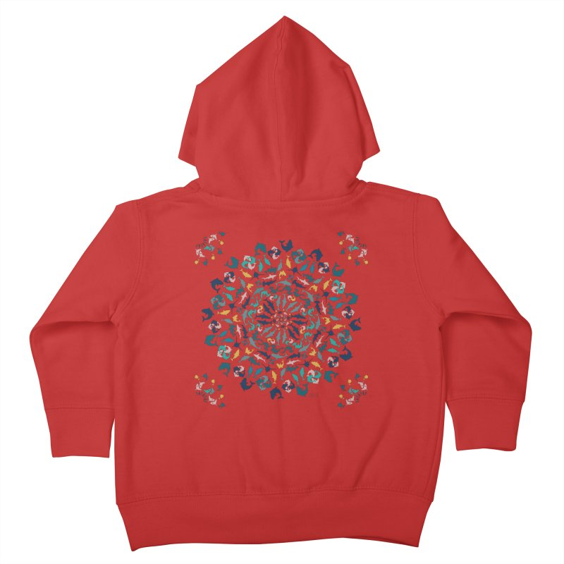 Sharks on Mandala Kids Toddler Zip-Up Hoody by BrocoliArtprint