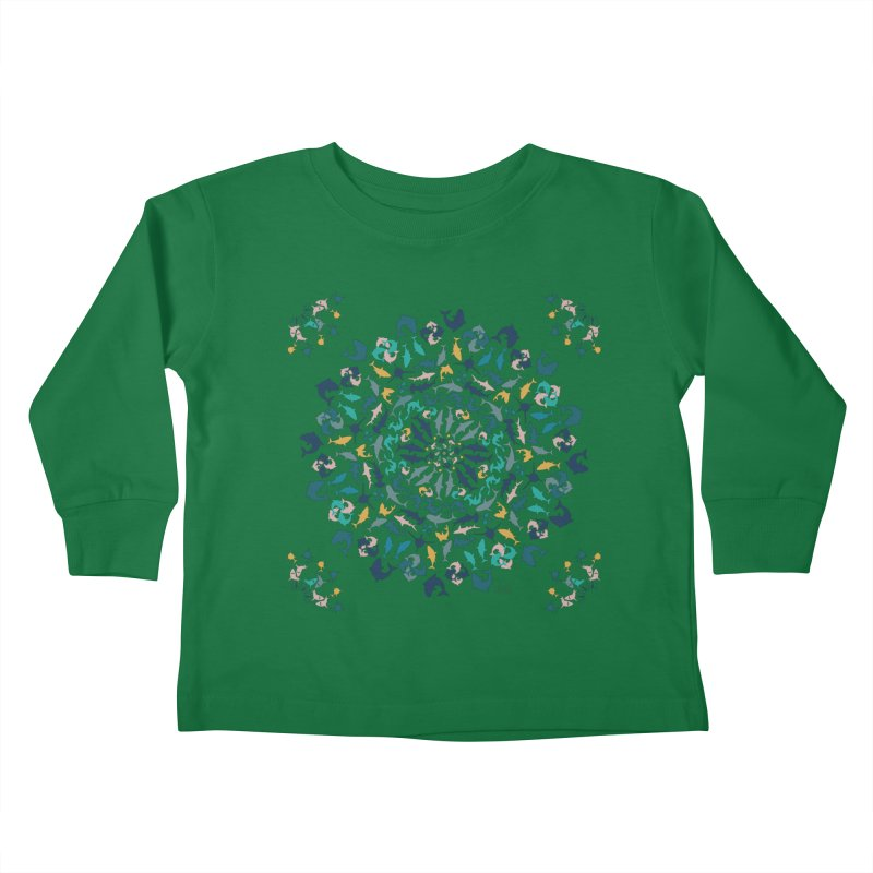 Sharks on Mandala Kids Toddler Longsleeve T-Shirt by BrocoliArtprint