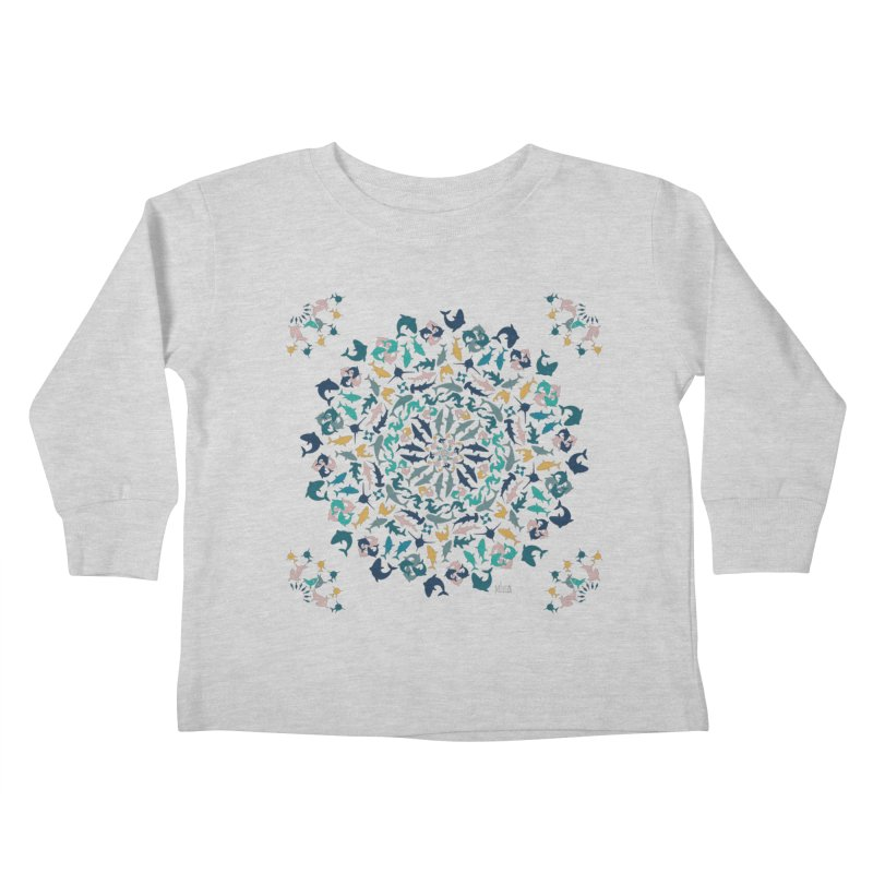 Sharks on Mandala Kids Toddler Longsleeve T-Shirt by BrocoliArtprint