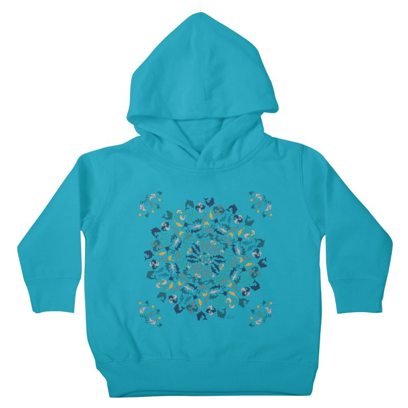Sharks on Mandala Kids Toddler Pullover Hoody by BrocoliArtprint
