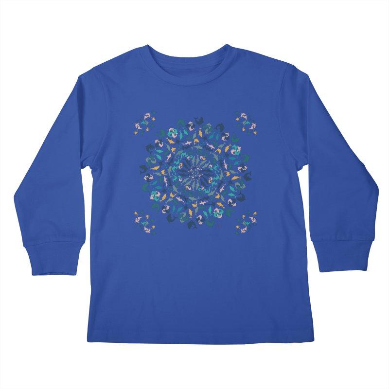 Sharks on Mandala Kids Longsleeve T-Shirt by BrocoliArtprint