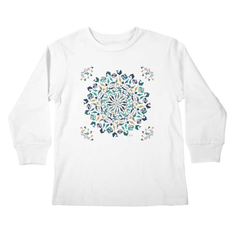 Sharks on Mandala Kids Longsleeve T-Shirt by BrocoliArtprint
