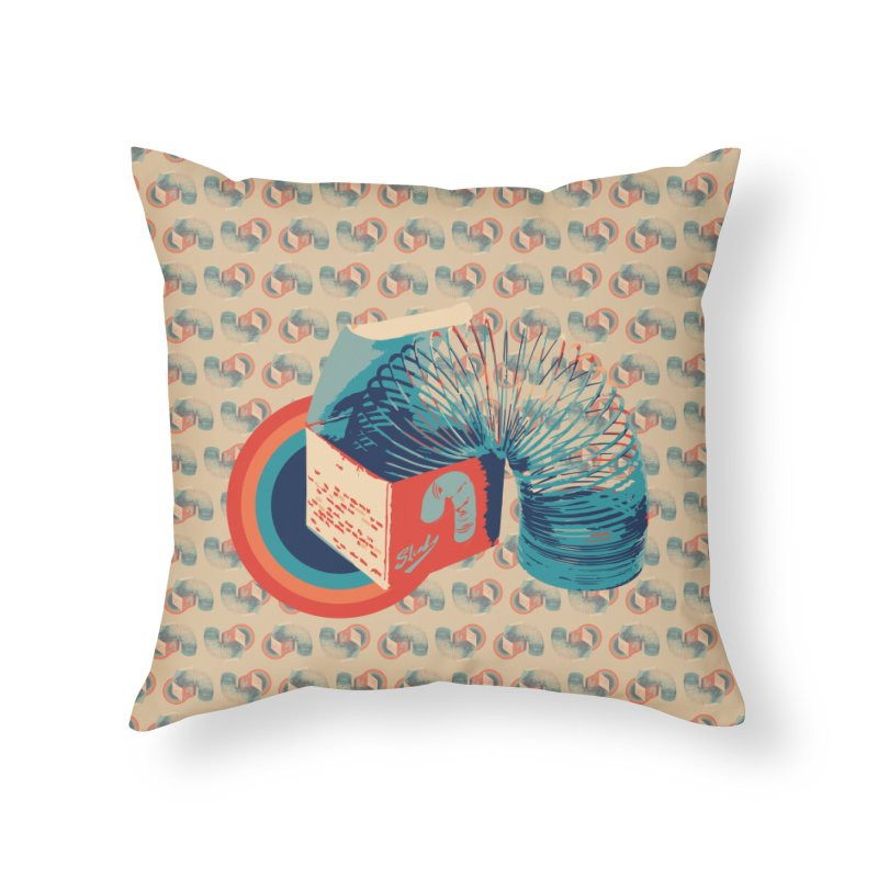 Slinky Home Throw Pillow by BrocoliArtprint