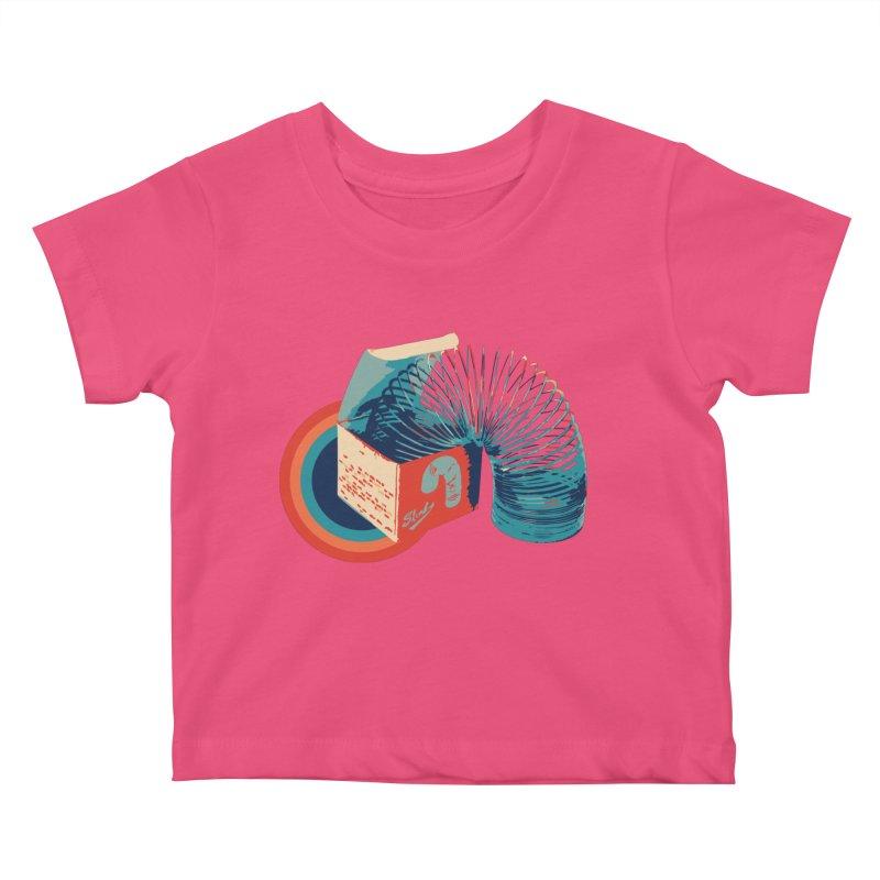 Slinky Kids Baby T-Shirt by BrocoliArtprint