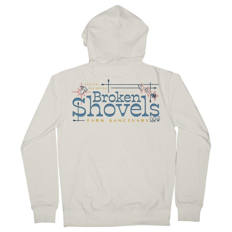 Vintage Broken Shovels Logo Men's Zip-Up Hoody by Broken Shovels Farm Sanctuary Shop
