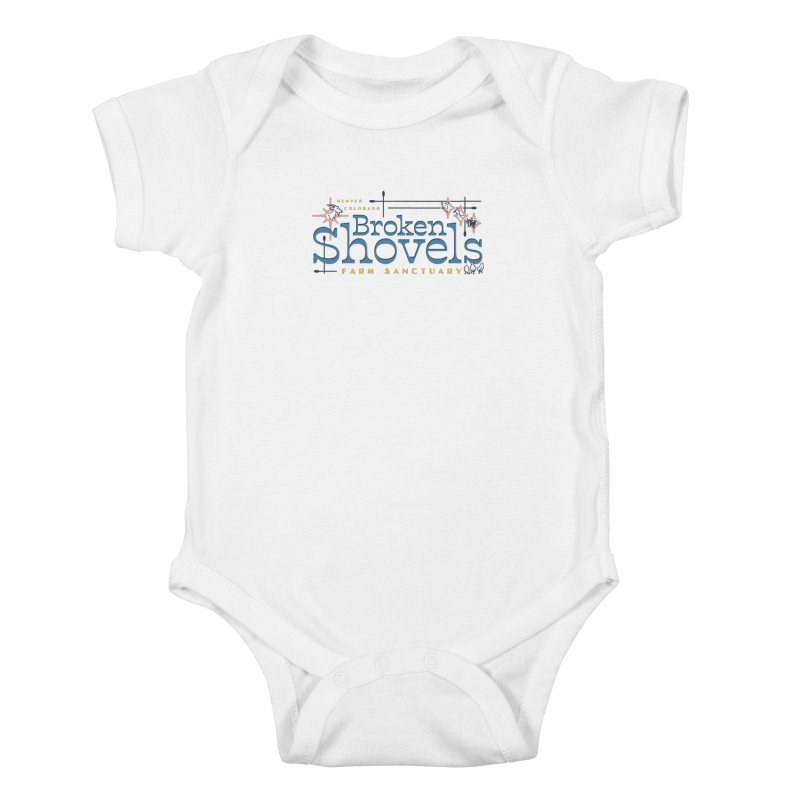 Vintage Broken Shovels Logo Kids Baby Bodysuit by Broken Shovels Farm Sanctuary Shop