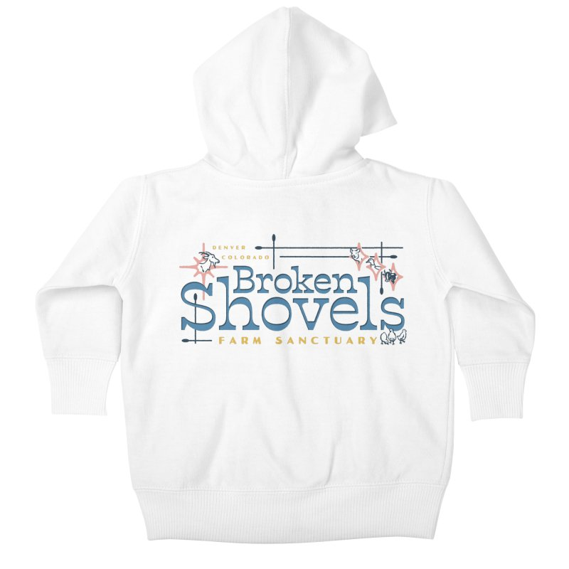 Vintage Broken Shovels Logo Kids Baby Zip-Up Hoody by Broken Shovels Farm Sanctuary Shop