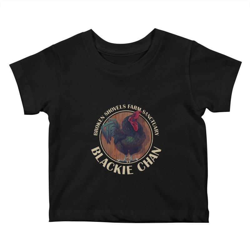 Blackie Chan! Kids Baby T-Shirt by Broken Shovels Farm Sanctuary Shop