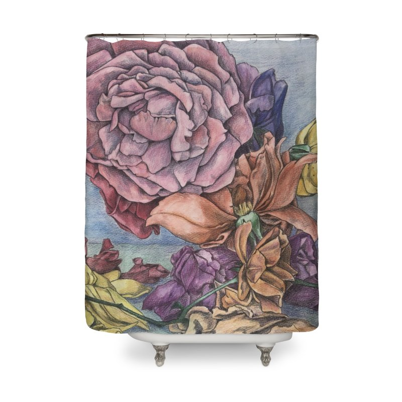Colored Roses Home Shower Curtain by Bryunholt's Artist Shop