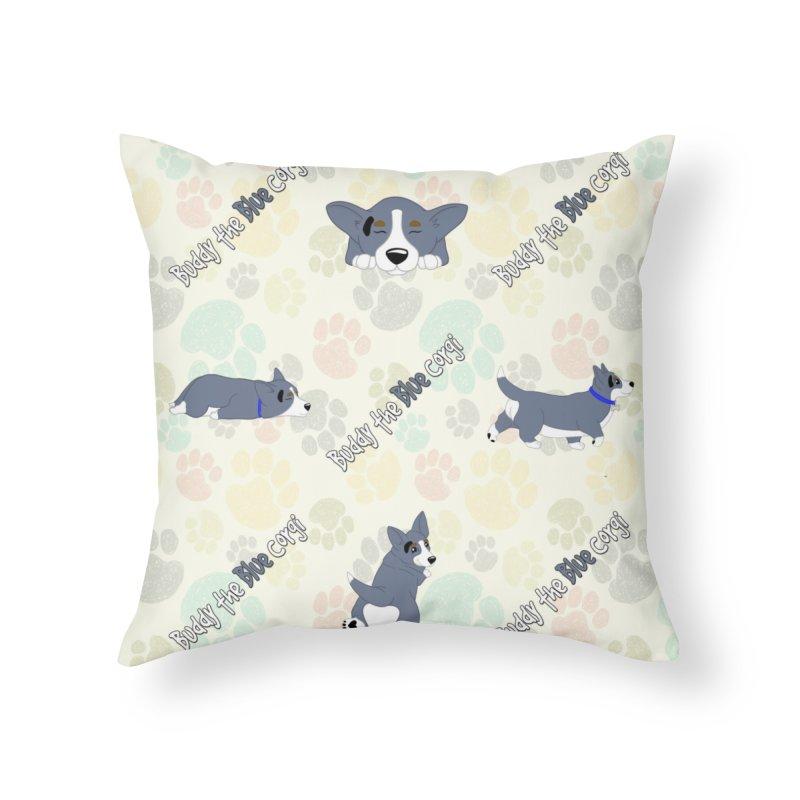 Lazy Buddy Paw Prints Home Throw Pillow by Buddy The Blue Corgi