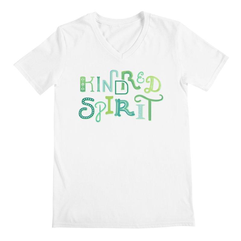 Kindred Spirit (Green) Men's Regular V-Neck by BumbleBess