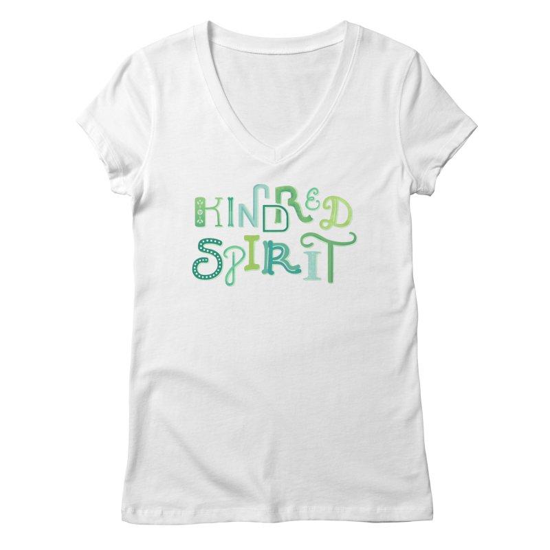 Kindred Spirit (Green) Women's Regular V-Neck by BumbleBess