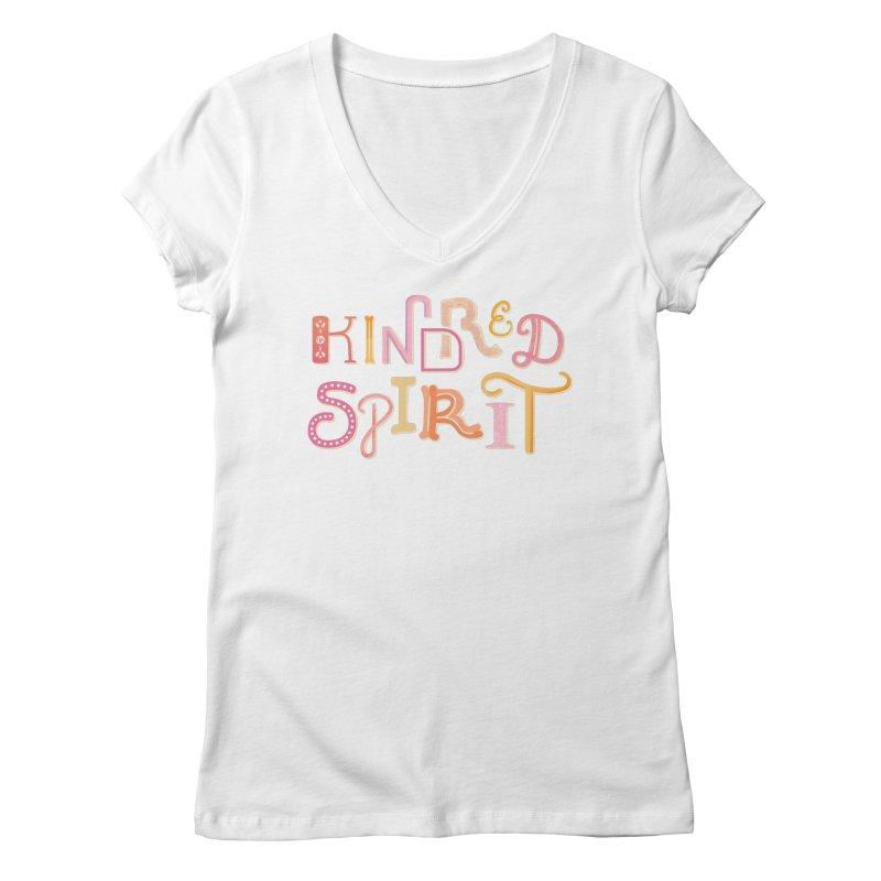 Kindred Spirit (Pink) Women's Regular V-Neck by BumbleBess