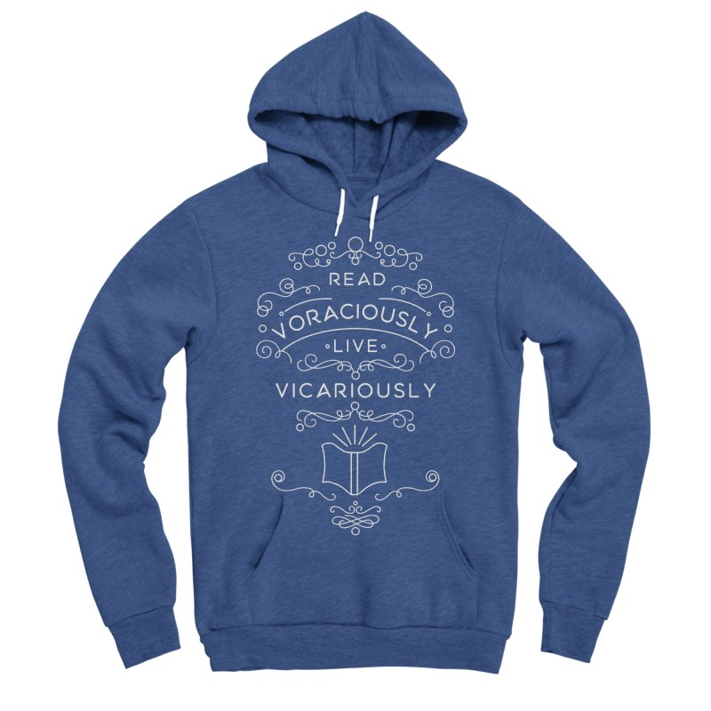 Read Voraciously, Live Vicariously Men's Sponge Fleece Pullover Hoody by BumbleBess