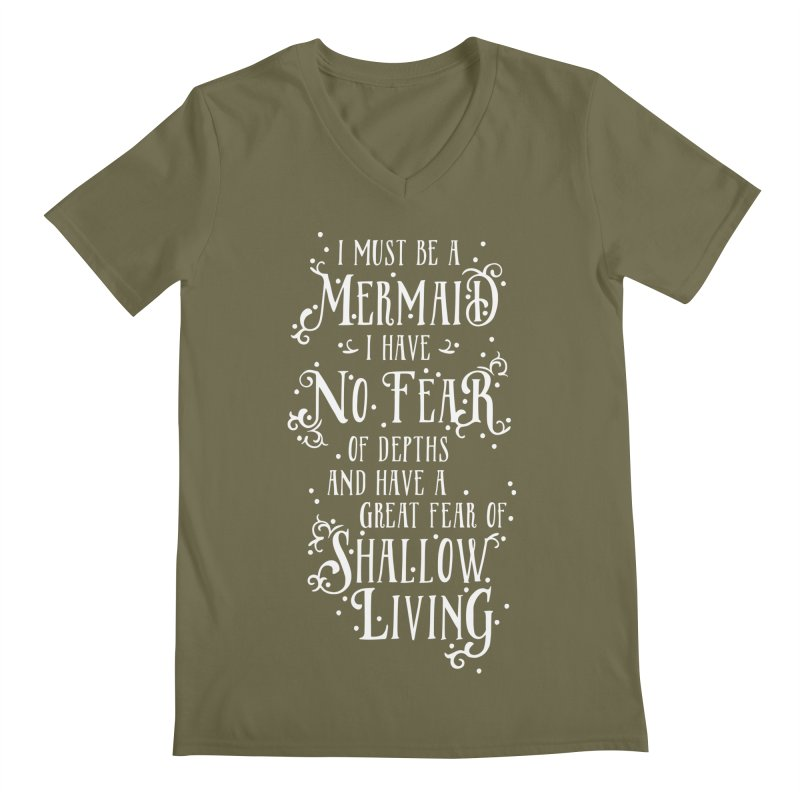 I Must Be a Mermaid Men's Regular V-Neck by BumbleBess