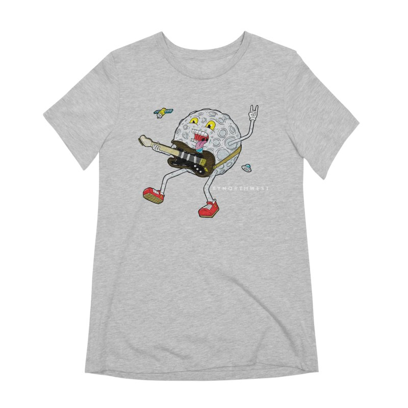 Moon Man (white text) Women's Extra Soft T-Shirt by ByNorthwest Store