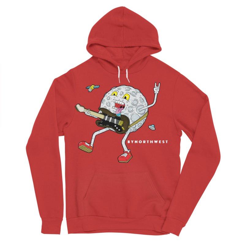 Moon Man (white text) Men's Sponge Fleece Pullover Hoody by ByNorthwest Store