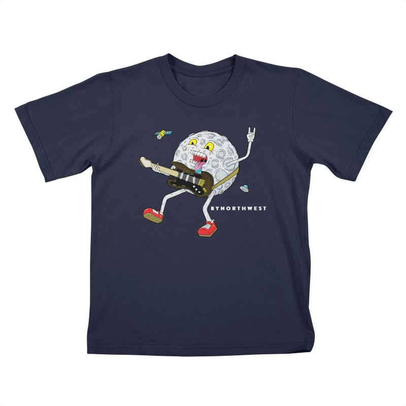 Moon Man (white text) Kids T-Shirt by ByNorthwest Store
