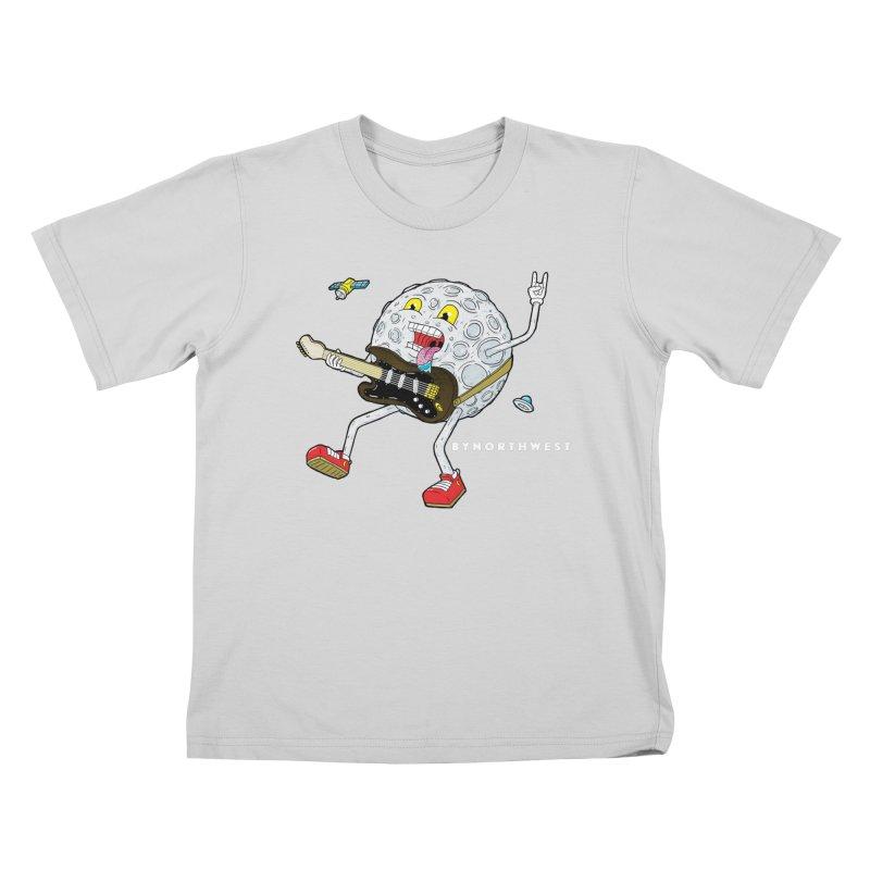 Moon Man (white text) Kids T-Shirt by ByNorthwest Store
