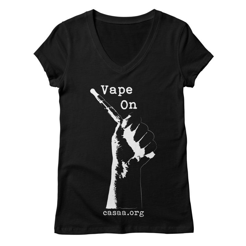Vape On in Women's Regular V-Neck Black by CASAA Store