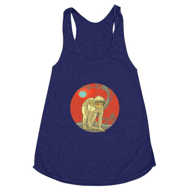 Monkey Zodiac Women's Racerback Triblend Tank by CB Design
