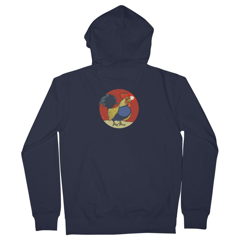 Rooster Zodiac Men's French Terry Zip-Up Hoody by CB Design